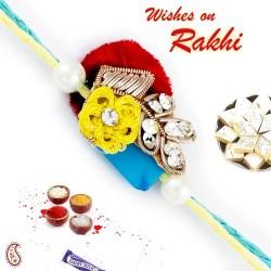 AD Studded Multicolor Zardosi Rakhi