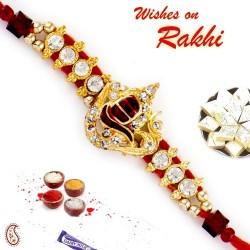 AD Studded OM Shivling Motif Rakhi