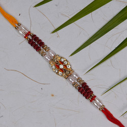 AD Studded Rakhi with Pearls and Beads