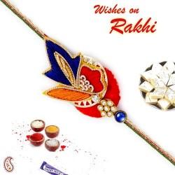AD Studded Red and Blue Rich Zardosi Rakhi