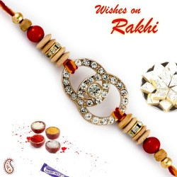 AD Studded Red and Brown Beads Rakhi