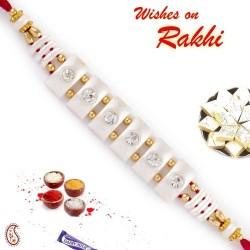 AD Studded White String Base Rakhi