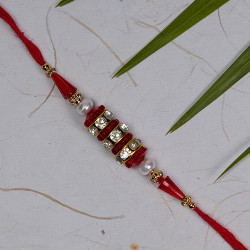 AD Studded with Coloring Beads Rakhi