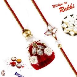 Alluring Red Kundan Work Bhaiya Bhabhi Rakhi Set
