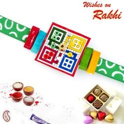 Amazing LUDO Style Kids Rakhi with Green Band