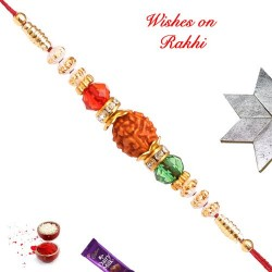Amazing Rudraksh AD Crystal and Beads Rakhi