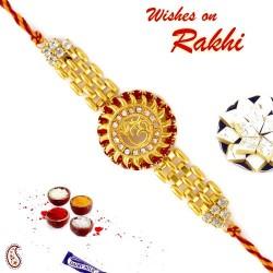American Diamond Stud Bracelet Style OM Rakhi
