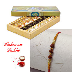 Assorted Kaju Sweets with Rudraksh Rakhi
