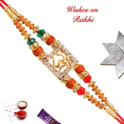 Auspicious OM Rudraksh Rakhi with AD and Beads