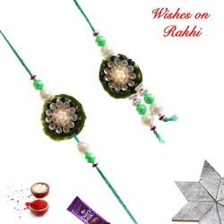 Awesome AD Pearls and Beads Bhaiya Bhabhi Rakhi Set