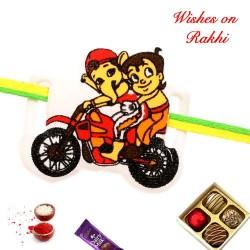 Bal Ganesh and Chhota Bheem Bike Riding Kids Rakhi