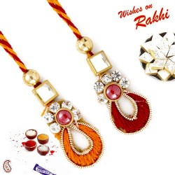 Beads AD and Kundan Studded Beautiful Lumba Rakhi