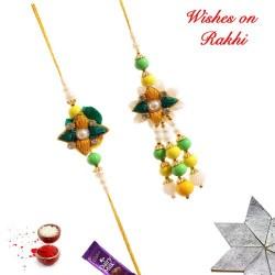 Beautiful AD Pearls and Beads Bhaiya Bhabhi Rakhi Set
