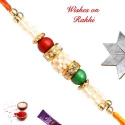 Beautiful AD Pearls and Coloring Beads Rakhi