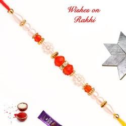 Beautiful Colored Beads and Pearls Work Rakhi