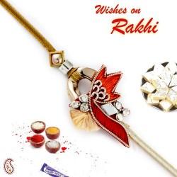 Beautiful Design AD Studded Zardosi Rakhi