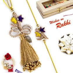 Beautiful Golden Beads Studded Zardosi Bhaiya Bhabhi Rakhi Set