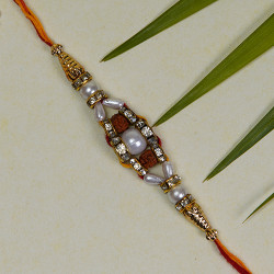 Beautiful Hand Crafted Pearl and Rudraksh Rakhi