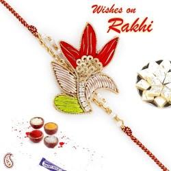 Beautiful Red and Green Rich Zardosi Work Rakhi
