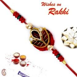 Beautiful Red Base Rich Zardosi Work Rakhi