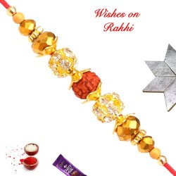 Beautiful Rudraksh AD and Beads Rakhi