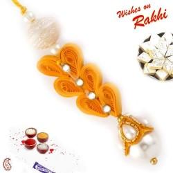 Beautiful White and Orange Dangling Lumba Rakhi
