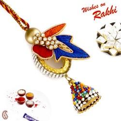 Beautifully Designed Multicolored Lumba Rakhi with Resham Work