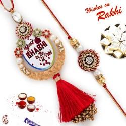 Best Bhabhi Lumba Rakhi and Circular Beads Pearls Bhaiya Rakhi Set