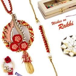 Bhaiya Bhabhi Rakhi Set with Traditional Gota Work