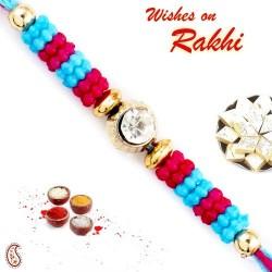 Blue and Pink Beads Thread Rakhi