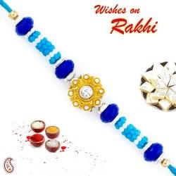 Blue Beads and Golden Floral Motif Rakhi