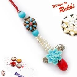 Blue Ceramic Floral Motif Lumba Rakhi