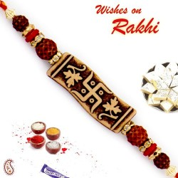 Brown Base Swastik Motif Quadra Rudraksh Rakhi