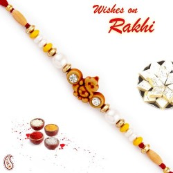 Brown Ganesh Motif Mauli Thread Rakhi