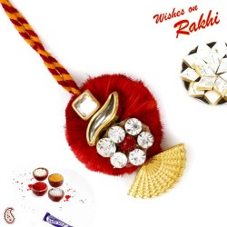 Butterfly Shape Red and Golden Lumba Rakhi with American Diamonds