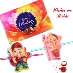 Cadbury Celebrations Box with Set of 2 Bal Ganesh Kids Rakhis