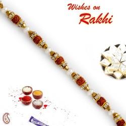Charming Beads and Rudraksh Studded Bracelet Rakhi
