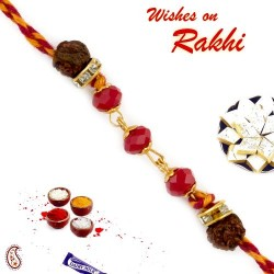 Charming Dual Rudraksh Rakhi with American Diamonds