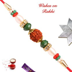 Charming Rudraksh AD and Beads Rakhi