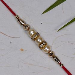 Classic Pearls and American Diamonds Rakhi