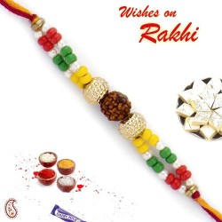Colorful Beads Rudraksh Rakhi