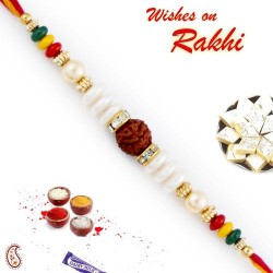 Crystal Beads and Pearl Studded Rudraksh Rakhi
