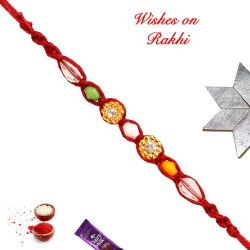 Delicate AD and Beads Work Rakhi