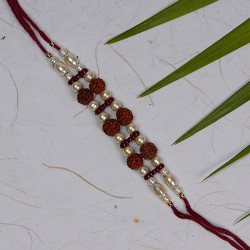 Designer Rudraksh and Pearls Rakhi