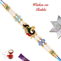 Exclusive Meena Work Peacock Rakhi with Pearls and Beads
