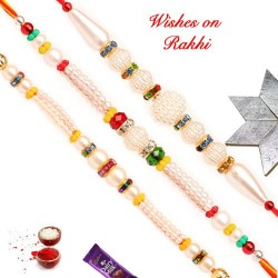 Exclusive Set of 3 Pearls Rakhis with Multicolor Beads