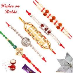 Exclusive Set of 5 Pearls Rudraksh and AD Rakhis