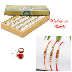 Fresh Kaju Katli with Set of 3 Premium Rakhis
