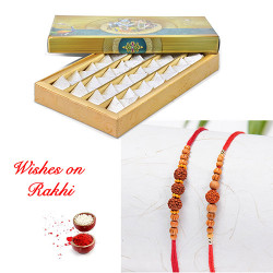 Fresh Kaju Katli with Set of Pearls and Rudraksh Rakhi