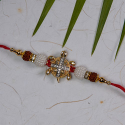 Hand Made Rakhi with AD Rudraksh Pearls and Beads